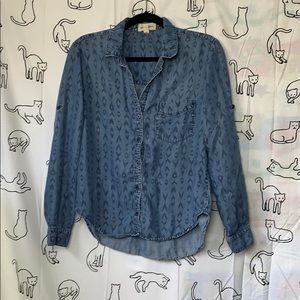 Cloth & Denim Printed Chambray Top